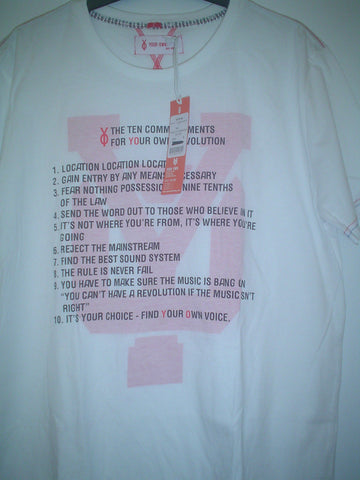 Brand New 'Your Own Tees' PUNK 10 COMMANDMENTS -WHITE TEE SHIRT. NEW. SIZE LARGE