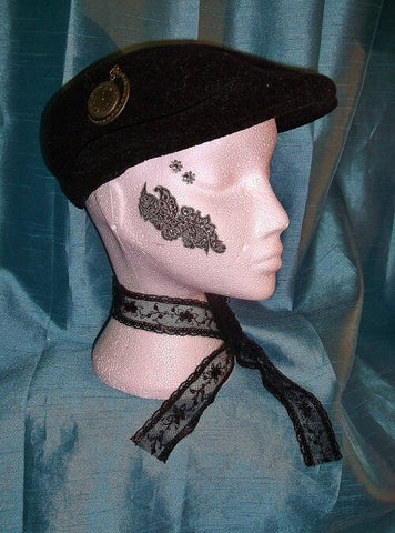 Burlesque/punk black FLAT TOP CAP-with embellishments. small/ladies