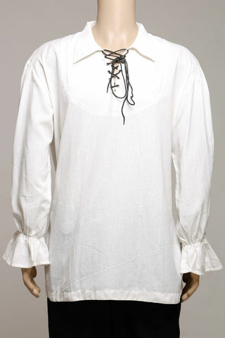 Casual Summer Renaissance Pirate Medieval Shirt white Men collar/FLOATY CUFFS