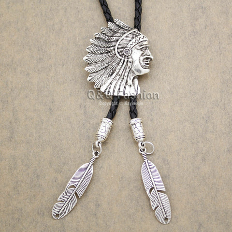 FUNKY Silver Chief Head Feather Navajo Zuni FAUX Leather NeckTIE