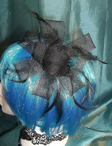 STEAMPUNK/BURLESQUE BLACK VOILE Fascinator-wedding/prom/halloween/party