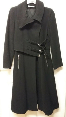 Full length Ladies coat, wool ,polyamide,cachemire, made in France,SIZE MEDIUM