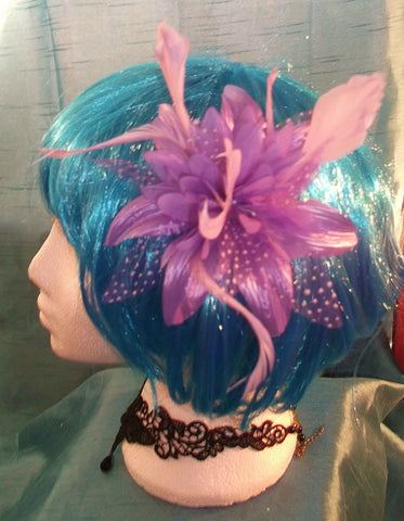 STEAMPUNK/BURLESQUE PURPLE FEATHER Fascinator-wedding/prom/halloween/party