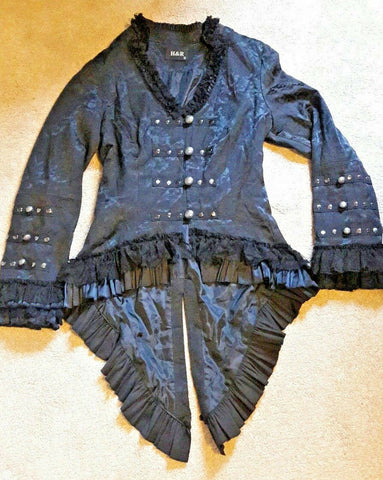 GORGEOUS H&R black satin brocade jacket with tails. Goth emo alternative size 10