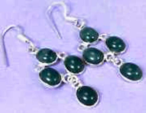 funky Green Onyx & 925 Silver Handmade Elegants drop Earrings 63mm G76-32577