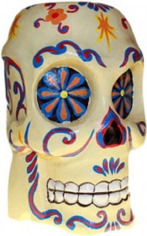 HALLOWEEN/PAGAN/ BALINESE/DAY OF DEAD wood  ARTY FLORAL PAINTED SKULL-21x12cm