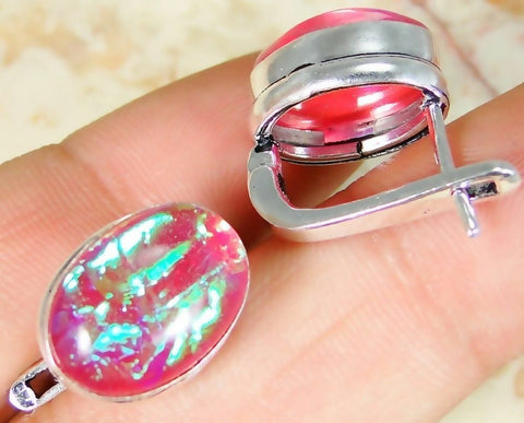 Lab Fire Opal & 925 Silver Handmade Lovely Earrings 13mm & gift-box