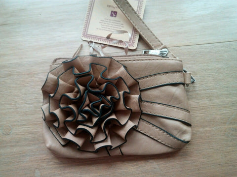 StunningVintage/Retro beige leather Eve/clutch bag-side strap & bow 7