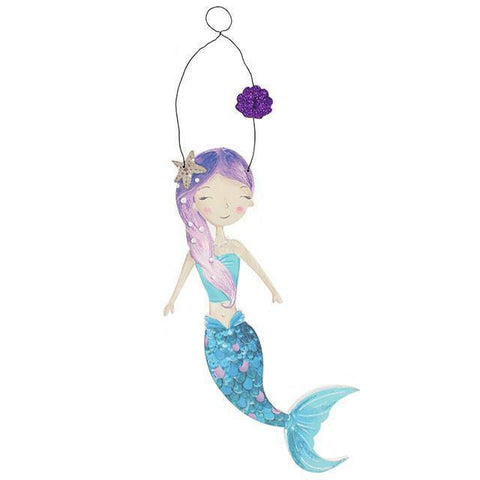 KIDDIES Mermaid Door Hanger.MDF.H:26.50cm xW:6.00cmxD:0.5 nursery/gift/stocking