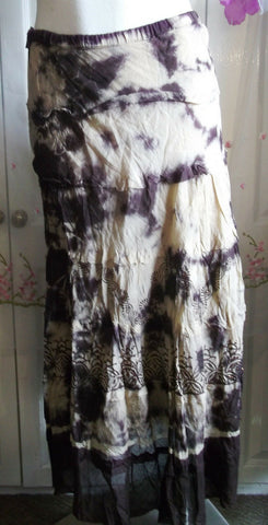 Brown tie-dye/sequins cotton skirt-BOho/Festi/Beach/Summer-Kushi size12,floaty