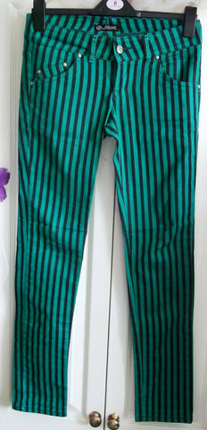 unisex punk festi pinstripe.green.black with lace up sides. Jist label.30