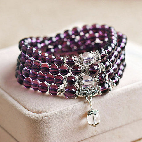 MAGNIFICENT 6MM CRYSTAL BUDDHIST AMETHYST 108 PRAYER BEADS BRACELET NECKLACE