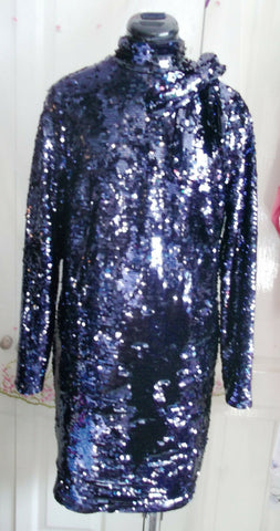 Exquisite SEQUIN BOW SHIFT DRESS,lined,midnight blue,LONGSLEEVE size12-rrp£99.99
