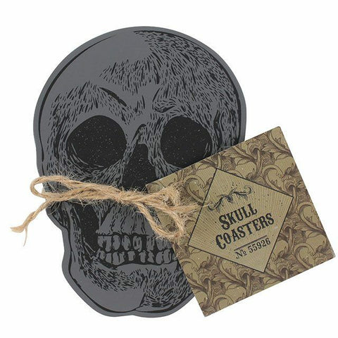 Set Of 4 Skull CoastersH:12.00cm x W:9.00cm x D:3.00cm. MDF