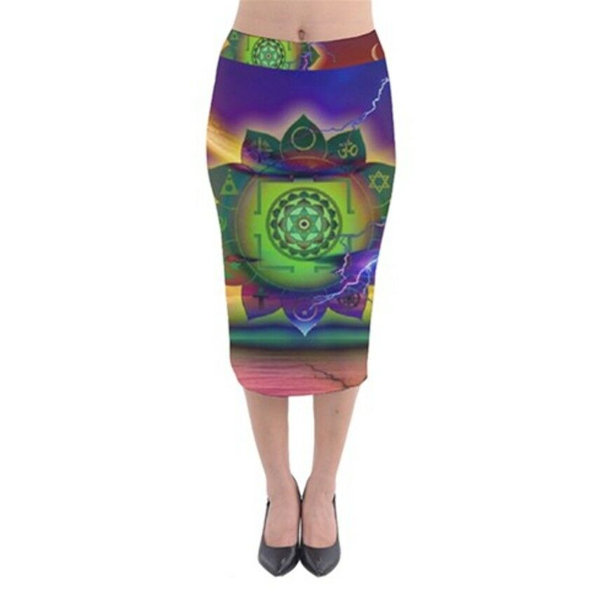MOON DHARMA Exclusive OriginalDesigner Velvet MidiPencilSkirt Size:Medium10-12uk