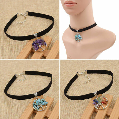 CHOKER Necklace Tree Of Life Natural Stone Choker Women's Jewelry Accessories