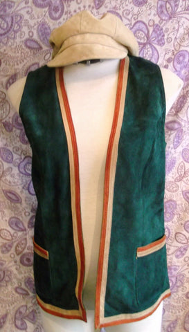 funky Steampunk/TrueVintage green suede-contrasting edging Waistcoat-Size 36