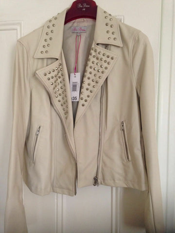NEW FUNKY PUNKY Ladies CREAM Biker Jacket (fAUX LEATHER) Stud Detail Size 14