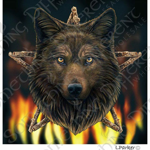 Gothic/Pagan/New AGe/Celtic  Wild fire wolf card by Lisa Parker x2