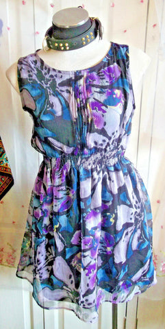 Boho/Festi/Beach/floral purple Anwol sundress,cotton,size 10 lace back.NEW.