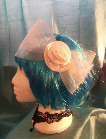 STEAMPUNK/BURLESQUE CREAM ROSE Fascinator-wedding/prom/halloween/party