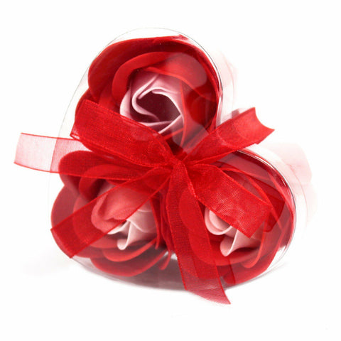 Bath/Giftset/Pamper/Wedding/Favours -Set of 3 Soap Flower Heart Box - Red Roses