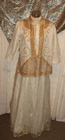 Indian wedding/ceremonial cream& gold polka dot shirt&skirt-gold beadwork detail