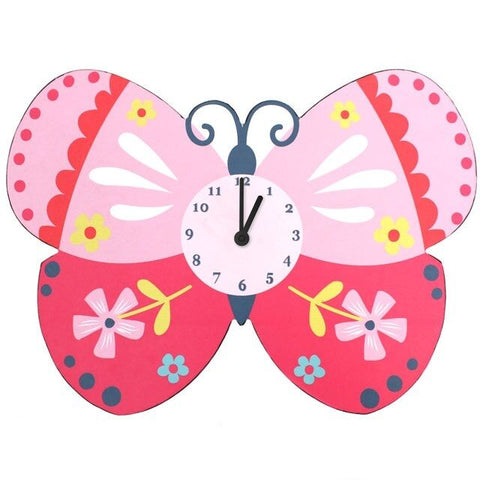 KIDS Cartoon butterfly clock in pink with flower design  H:27cm W:37cm D:4CM