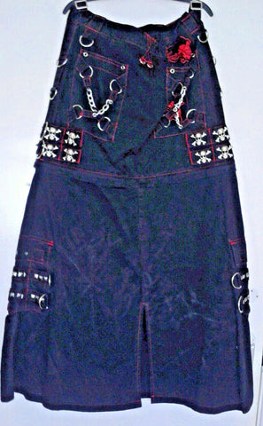 punk/goth Mercy gothic punk skull stud black short or long skirt size S