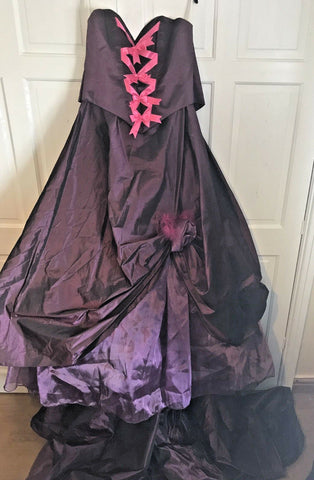 GORGEOUS Purple Gothic Dress Size 8-10 Wedding Bridesmaid Prom Evening