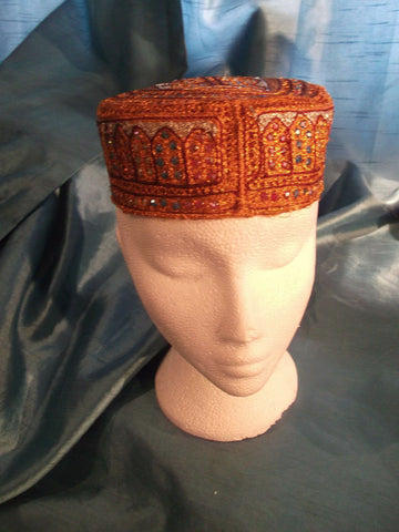 punk/cosplay/festi/stagewear/costume/ ORANGE FEZ STYLE HAT WITH SEQUINS 22