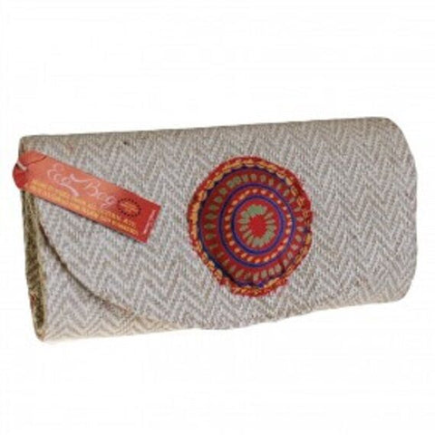 ECO/ENVIRONMENT FRIENDLY Herringbone Jute & Silk EcoClutchBags-Size :26x14x7cm