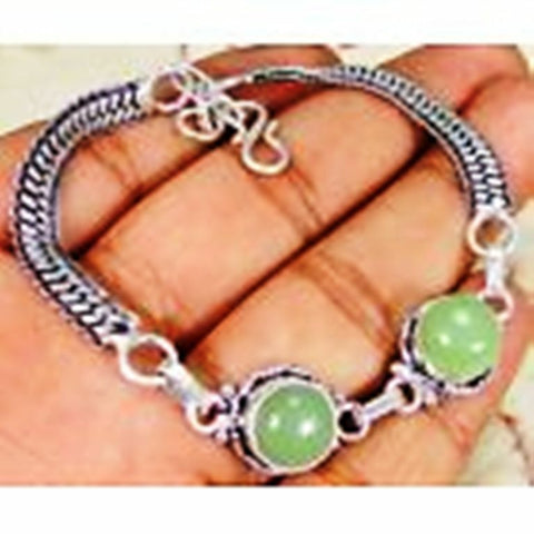 Green Jade & 925 Silver Handmade Lovely Bracelet 210mm