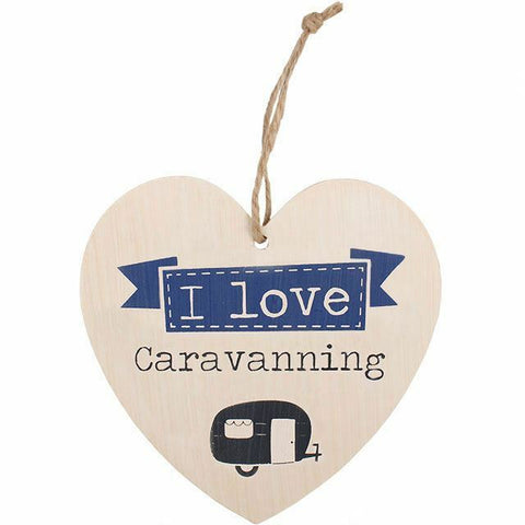 I Love cARAVANNING Shabby cHIC Hanging Heart SignH:12.00cm x W:11.50cm x D:0.50
