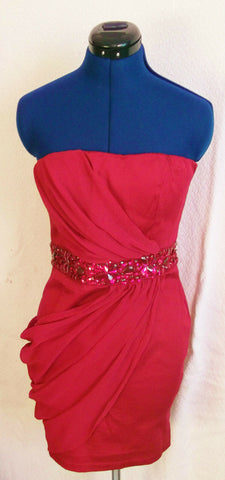AXParis Pink strappy draped fitted dress.size14 crystal embellishment