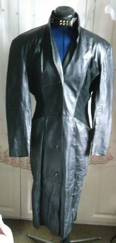 Vintage  UNISEX BLACK leather biker/STEAMpunk/hip COAT.size40