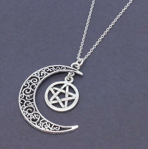 Large Silver Crescent Moon& Pentagram Necklace Star Jewellery Pentacle Pendant