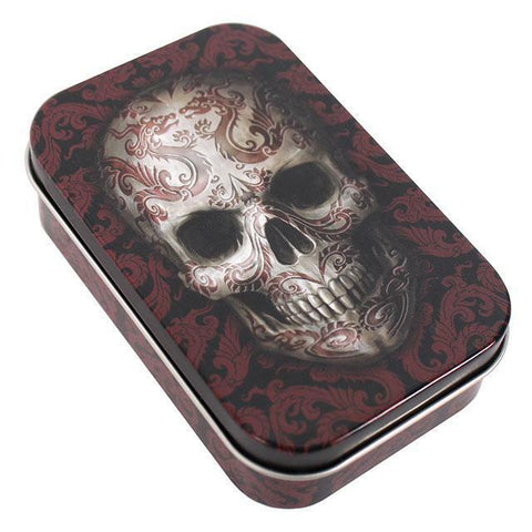 Gothic/Pagan/New AGe/Celtic small Oriental Skull Tin by Anne Stokes 9.6cm x6cm