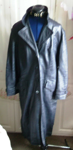 Vintage  UNISEX BLACK leather biker/STEAMpunk/hip COAT.size46