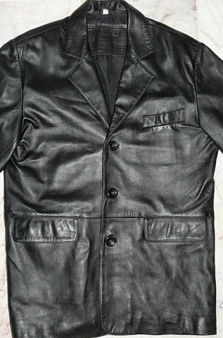 MENS BLACK LEATHER JACKET COAT  MEDIUM  'TERRITORY CLOTHING' CHEST 42