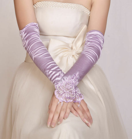 FUNKY New LILAC ELBOW Wedding/Evening/Party Fingerless  Lace Satin Bridal Gloves