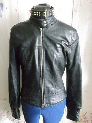 Vintage HAUNT BLACK leather biker/punk/hip jacket.sizeS/10.ZIP front,lined,