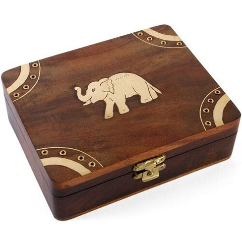 GORGEOUS WOODEN Elephant box-BRASS INLAY DETAIL.10CM X 12.5 CM X 4 CM