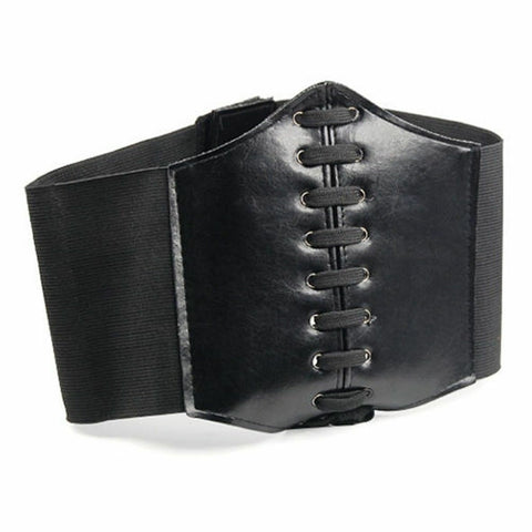 LEATHER-look WAIST CLINCHER BELT WIDE BAND ELASTIC TIED WASPIE CORSET BLACK UK