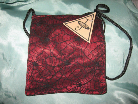 New Jordash red Black spiders web lined small zip bag Goth Rock