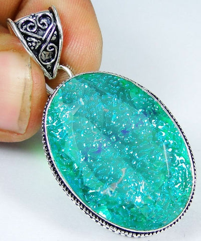 LabFireOpal &925 Silver Overlay Handmade Pendant & gift-box &3mm silver chain