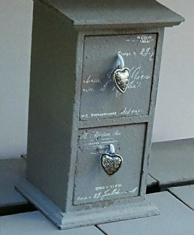 gORGEOUS GREY shabby chic wooden  jewellery drawers WITH HEART PULLS.-7