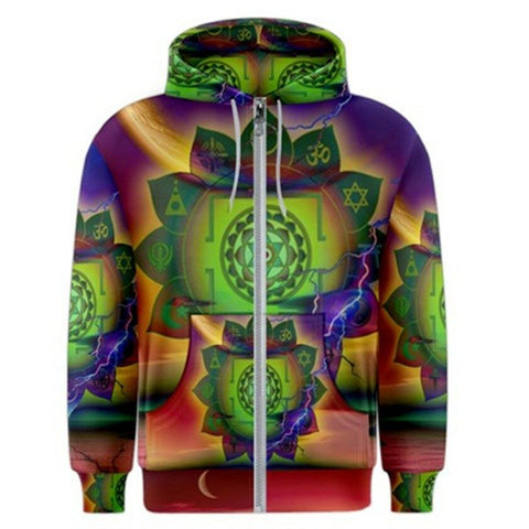 MOON DHARMA Exclusive,Original Designer mens ZIPPER HOODY Size L-42