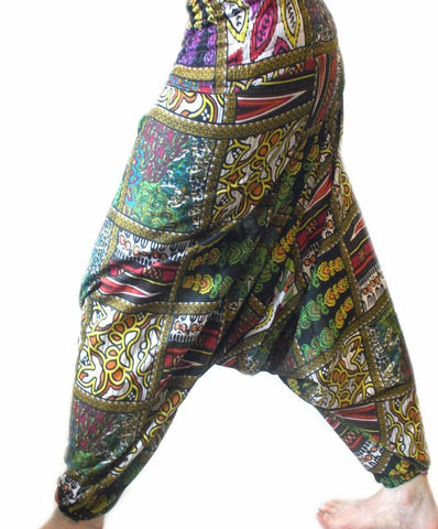 UNISEX HIPPY Harem/chill pants  Trousers patch print -Patchwork Ali Baba Design