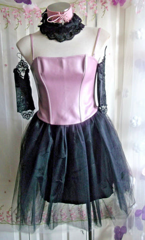 gorgeous ann summers pink strappy/shiny corset size 10-12